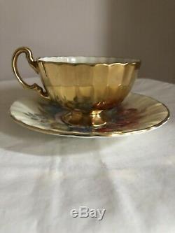 Vintage Aynsley Cabbage Rose Floral Gold Tea Cup Saucer Signed Bailey