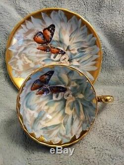 Vintage Aynsley China Cup & Saucer Colorful Chrysanthemum Butterfly & Gold