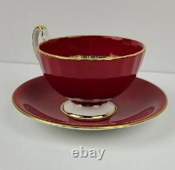 Vintage Aynsley China Orchard Fruit Ruby Red Tea Cup & Saucer Teacup D Jones