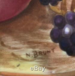 Vintage Aynsley Cup Saucer Gold Orchard Fruit #C746 Signed Brunt & Jones Footed