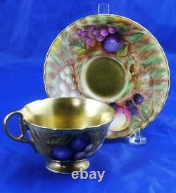 Vintage Aynsley Fruit Orchard Gold Lined Cup & Saucer C746 Signed D Jones Mint