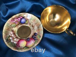 Vintage Aynsley cup saucer Fruit Signed D. Jones Gold Bone China