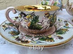 Vintage Capodimonte Cherub Tea Set Teapot Creamer Sugar Cups Saucers Gold Gilt
