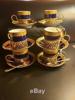 Vintage Limoges cobalt blue 24 carat cups & saucers with gold plated desert spoons