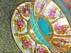Vintage Love Story Tea Cup & Saucer Turquoise Gold Rudolf RW Bavaria Germany