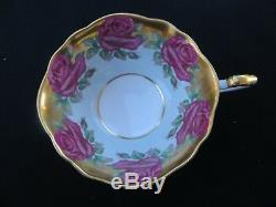 Vintage PARAGON Tea Cup & Saucer Red Cabbage Roses in Turquoise & Gold RARE