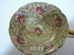 Vintage Paragon China Tea Cup & Saucer Pink with Pink Rose & Gold Lace Pattern