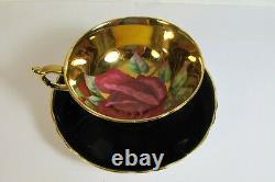 Vintage Paragon England Red Rose Cabbage Floating Tea Cup & Saucer Set
