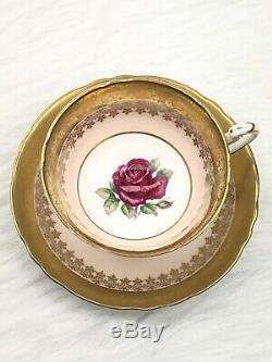 Vintage Paragon Floating Pink Rose Tea Cup & Saucer Peach Gold Filigree Elegant