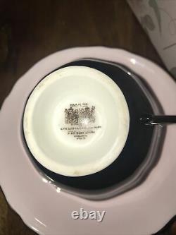 Vintage Rare Paragon Teacup And Saucer Black Pink Gold Double Warrant Registered