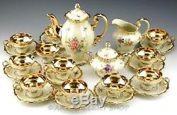 Vintage Rosenthal Pompadour Continental Floral GOLD CUPS SAUCERS COFFEE POT 24PC