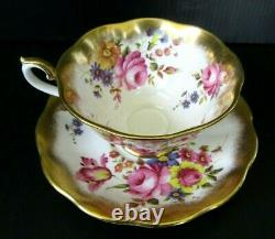 Vintage Royal Albert TREASURE CHEST SERIES Tea Cup & Saucer, Roses, Lavish Gold