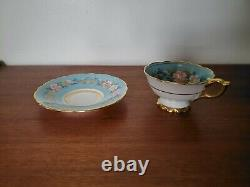 Vintage Royal Stafford Garland Tea Cup & Saucer Hand Painted Gilded Rims 18
