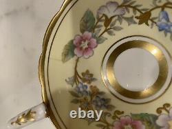 Vintage Royal Stafford Garland YELLOW floral Gold Footed Tea Cup Saucer set #4
