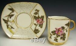 Vintage Royal Worcester Hand Painted Embossed Flower Wheat Gold Tea Cup & Saucer