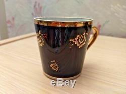 Vintage Set of 6 Dovbysh Cobalt Gold Porcelain Coffee Tea Cup USSR Ukraine