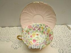 Vintage Shelley Countryside Oleander Shape Cup & Saucer Gold Trim Pale Pink MINT