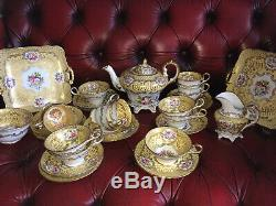 Vintage Tea set Copeland Spode 29 piece handpainted Cups Plate Saucer teapot