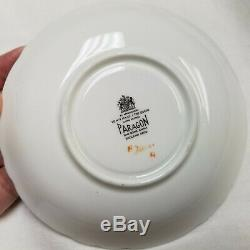 Vtg Paragon Cabbage Rose Gold On Black Tea Cup & Saucer Bone China #2