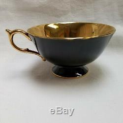 Vtg Paragon Cabbage Rose on Gold Black Tea Cup & Saucer Bone China by Appt #2