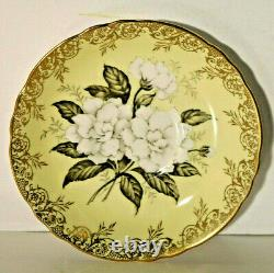 Vtg. Paragon Pale Yellow Floating Gardenia Gold Filligree Trim Cup & Saucer RARE