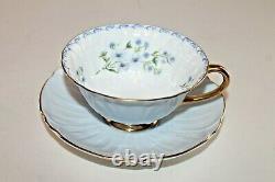 Vtg Shelley Oleander Footed Tea Cup & Saucer Lt Blue Gold Forget Me Not