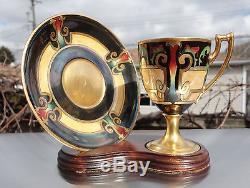 Whites Art Company Chicago Laviolette Limoges Porcelain Tea Cup Saucer Gold Exc