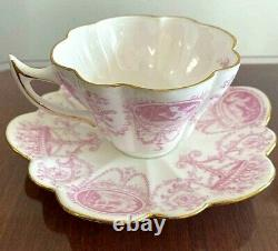 Wileman Foley China Antique 1895-1910 Cup & Saucer Pink Gold Shelley Japan F/S