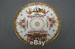 Wolfsohn Dresden Hand Painted Dock Scenes & Gold Covered Bouillon Cup & Saucer F