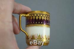 Wolfsohn Dresden Purple Luster Raised & Beaded Gold Demitasse Cup & Saucer